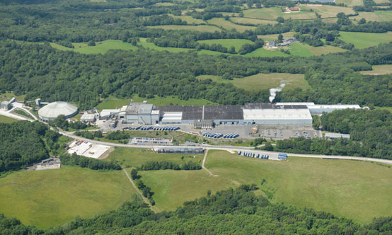 Aerial image of British Gypsum's Robertsbridge plant, which has been running since the 1970s.