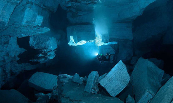 The Orda cave in Perm Krai, Russia is the largest underwater gypsum cave in the world